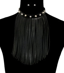 "15""  faux leather tassel fringe collar choker bib spike necklace earrings"