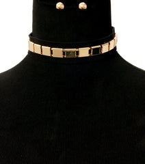 "15"" faux suede chain collar choker necklace statement earrings"