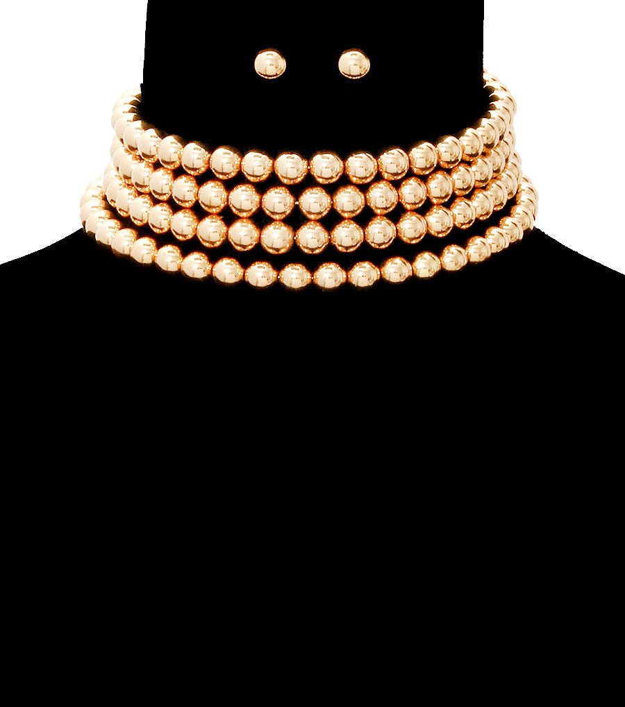 "gold coil wrap faux pearl choker collar 4 row necklace .30"" earrings"