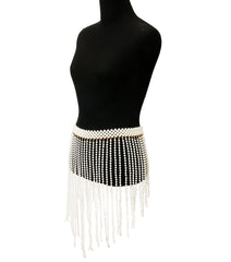 "30"" - 36 "" cream faux pearl waist faux fringe tassel belt skirt 19"" drop"