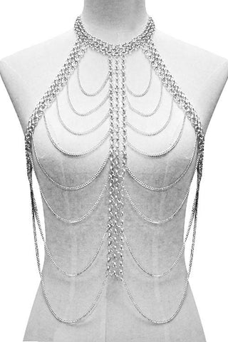 "12"" layered chain vest shoulder body chain celebrity swimsuit bathing suit"