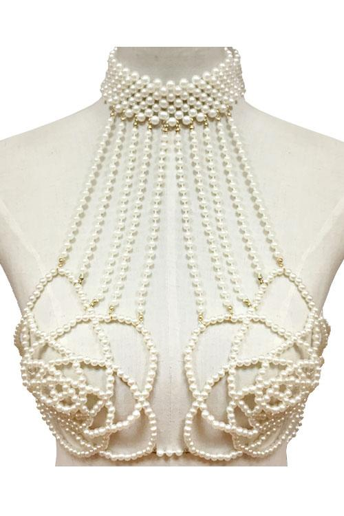"11.50"" faux pearl rose choker necklace body bra swimsuit body chain"