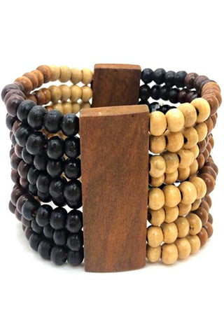 wood stretch bracelet bangle 2 wide boho multi