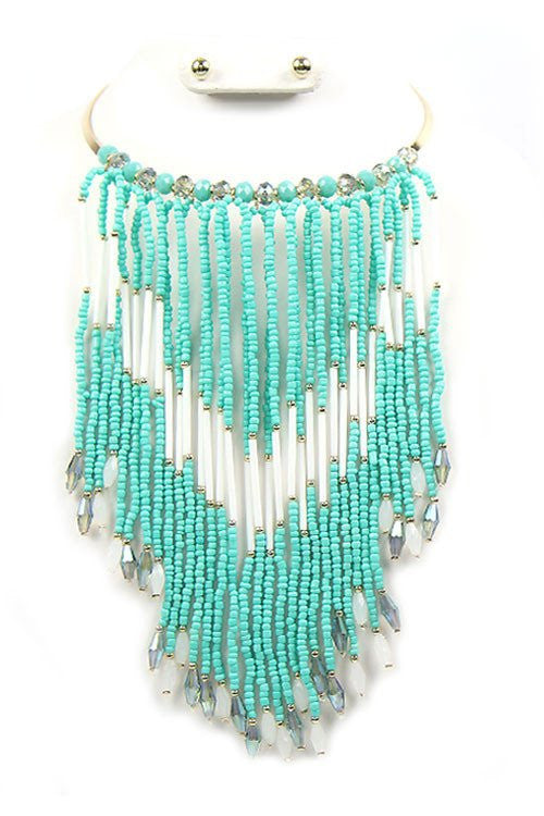 "15.50"" seed bead choker necklace .25"" earrings 7.50"" tassel drop"