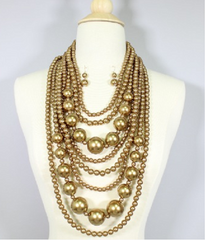 "22"" gold faux pearl 8 layered multi strand bib necklace 1.50"" earrings"