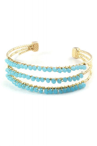 "7.25"" gold turquoise crystal pave bracelet bangle cuff wire"