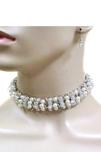 "13"" crystal faux pearl choker collar necklace .75"" wide .25"" earrings"