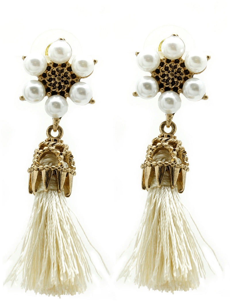 "2"" gold faux pearl 1.25"" fabric tassel fringe earrings"