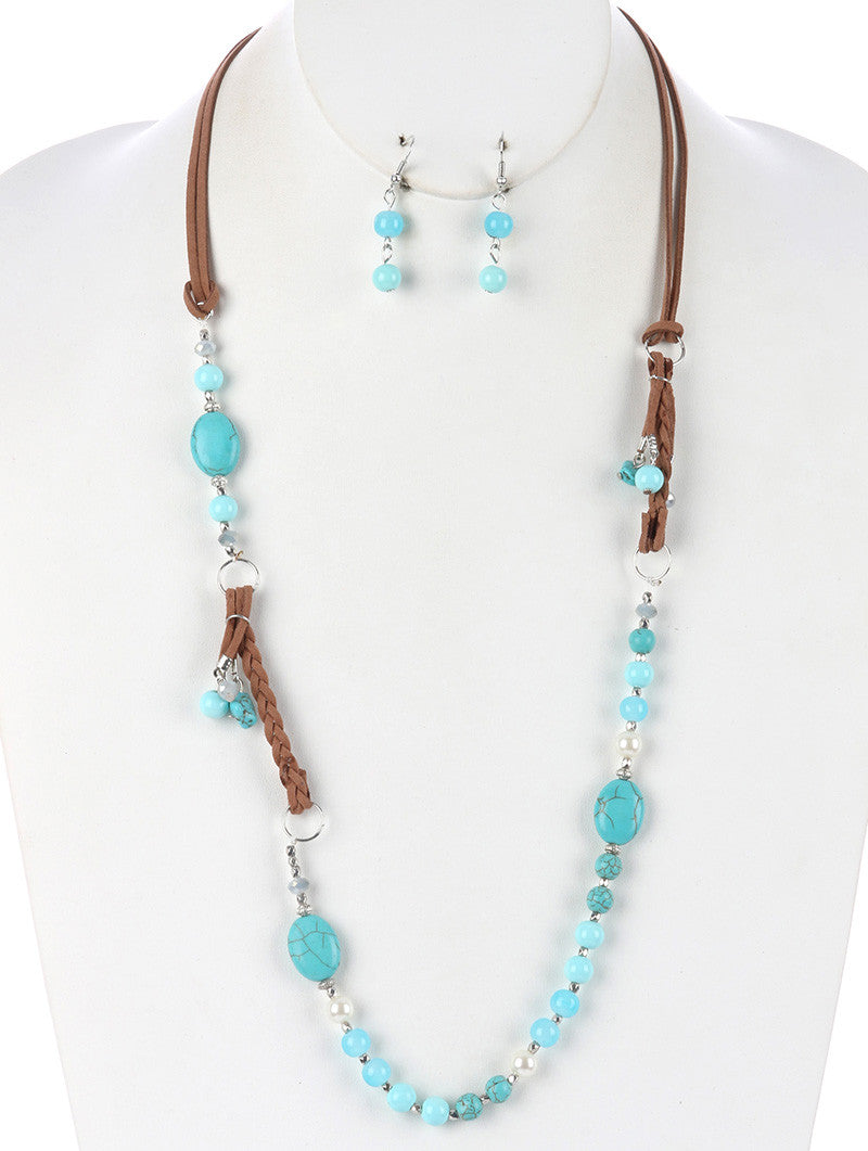 "34"" turquoise natural stone faux leather boho charm bead necklace .80"" earrings"