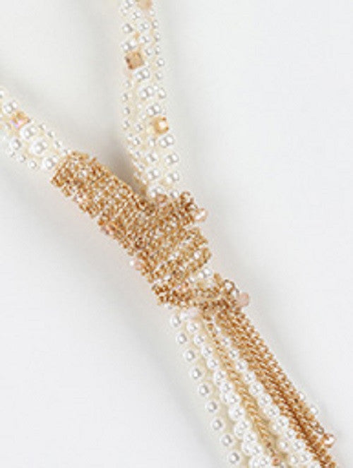 "20"" cream pearl multi layered chain wrapped fringe necklace 1"" earrings"