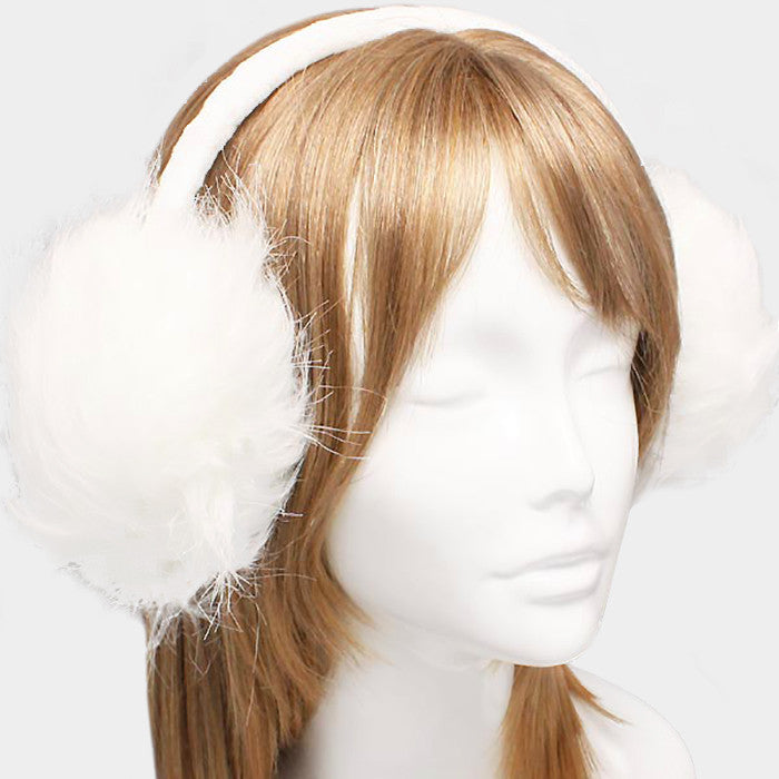 "6"" wide white faux fur earmuffs winter"