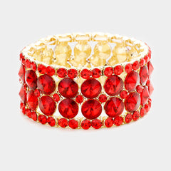 "1.25"" wide crystal bracelet cuff bangle bridal prom formal evening"