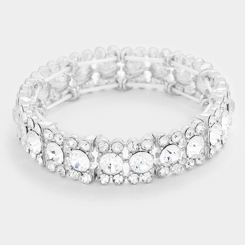 "7"" crystal stretch bracelet bangle cuff bridal prom pageant .50"" wide"