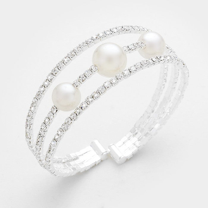 "8"" silver crystal pearl bracelet bangle cuff bridal prom pageant 3 row"