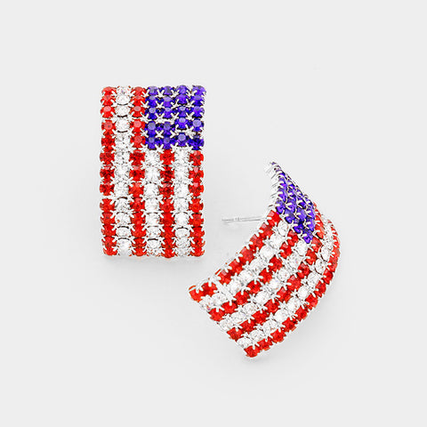"1"" crystal american flag patriotic 4th of july earrings"