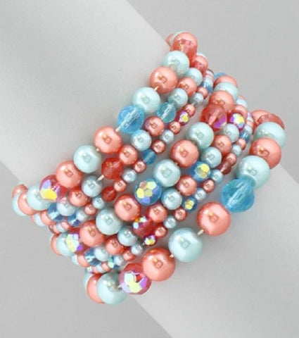 "1.25"" faux pearl bead multi strand stretch bracelet bangle cuff"
