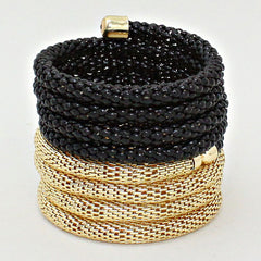 "2.50"" gold black mesh tube coil wrap bracelet bangle cuff"