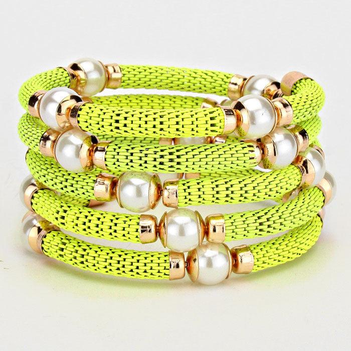 "2.50"" neon faux pearl coil wrap cuff bracelet bangle station"
