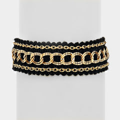 "8"" black gold chain link bracelet cuff bangle .80"" wide"