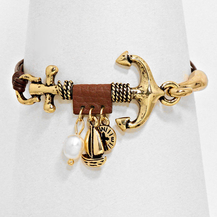"1"" anchor pearl charm sea life faux leather bracelet bangle nautical"