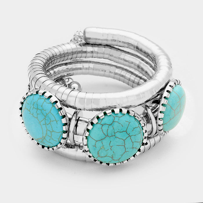 "silver turquoise coil wrap bracelet bangle cuff layered 1.50"" wide"