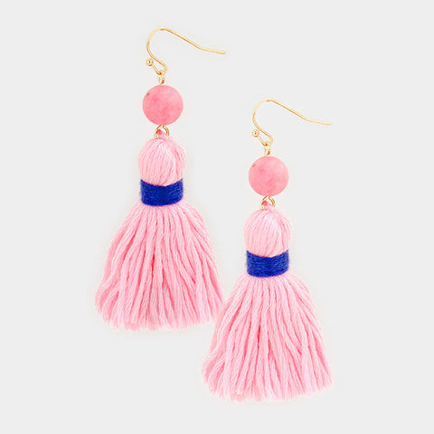 "2.50"" pink semi precious fabric tassel fringe boho earrings"