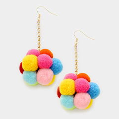 "3.50"" pom pom balls boho earrings"