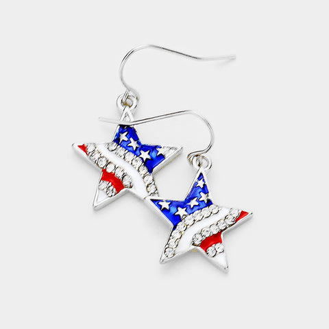 "1""  american flag patriotic star crystal earrings pierced"