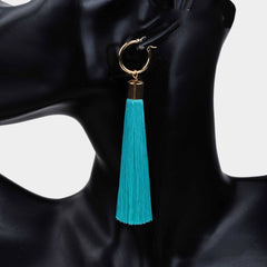 "4.25"" fabric tassel fringe layered boho hoop earrings"
