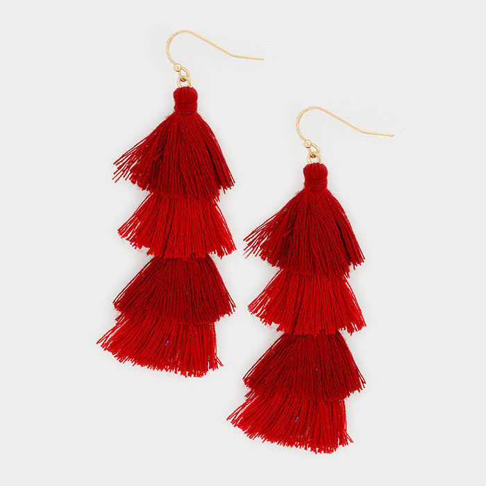 "2.75"" color fabric tassel fringe layered boho earrings"