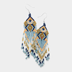 "4"" seed bead dangle fringe pierced boho earrings"