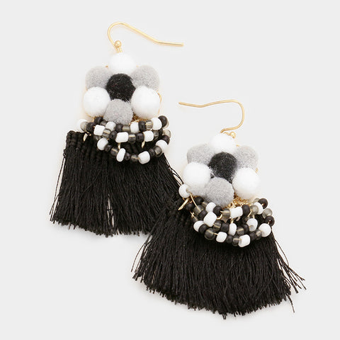 "2.50"" black pom pom fabric tassel fringe layered boho bead pierced earrings"
