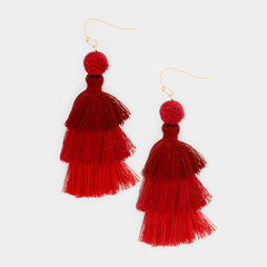 "2.50"" pom pom fabric tassel fringe layered boho earrings"