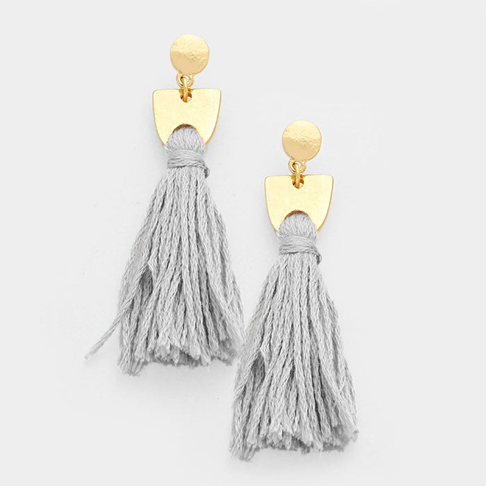 "2.25"" fabric  tassel fringe boho earrings"