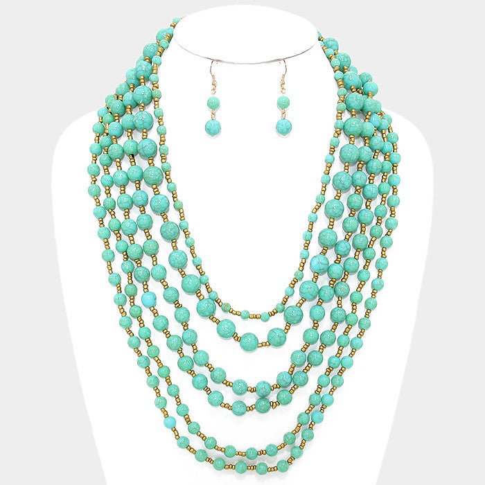 "20"" turquoise gold layered choker collar bib long Necklace 1.50"" earrings beads"
