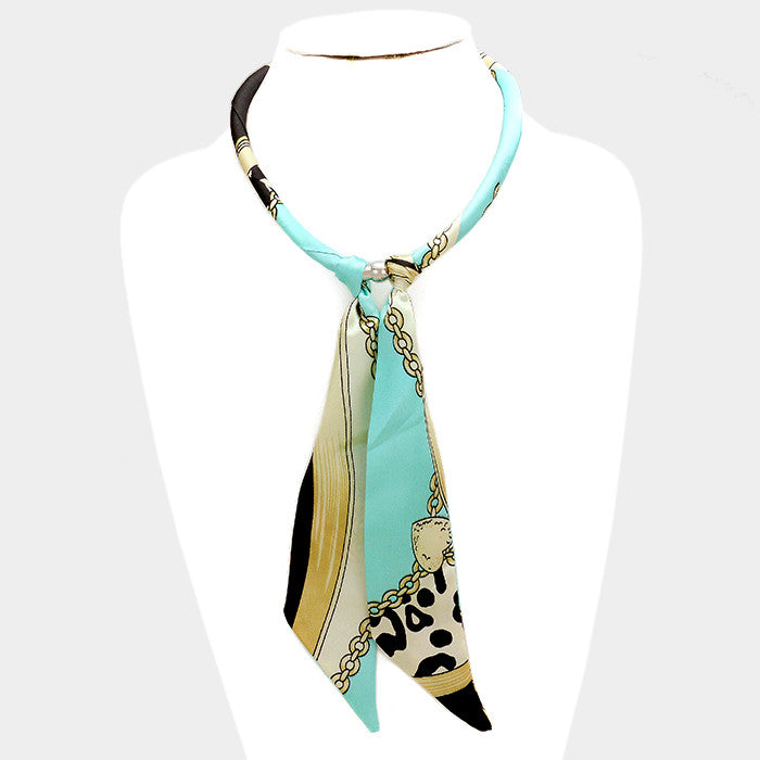 "18"" silk magnetic scarf choker collar necklace 8"" drop"
