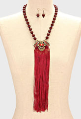 "19"" crystal burgundy faux pearl necklace .50"" earrings 9"" tassel fringe"