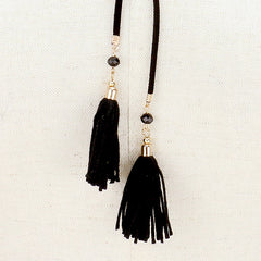 "12"" black gold tassel fringe choker necklace 1"" earrings faux suede boho"