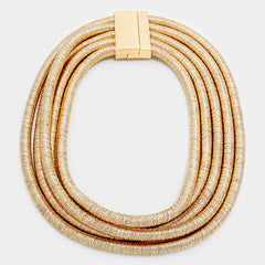 "18""  5 layer coil choker collar necklace statement basketball wives multi layer bib"