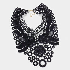 "18"" black lace choker collar bib necklace 6.75"" long"