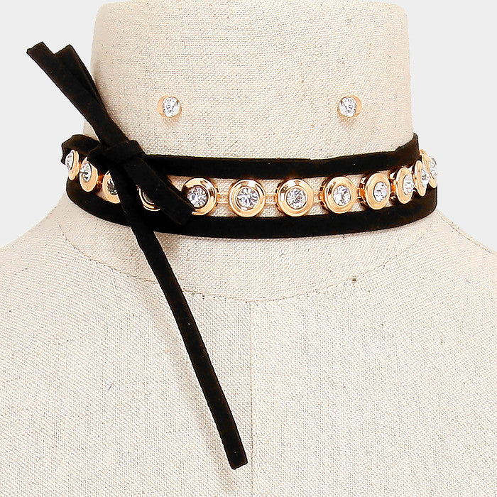 "55"" gold crystal faux tie cabochon choker collar bib necklace .20"" earrings"