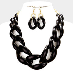 "18"" resin large chain link choker collar necklace .25"" earrings"