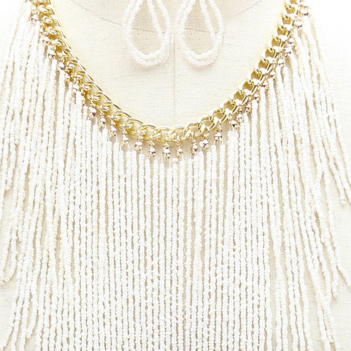 "18"" seed bead fringe tassel choker necklace 3' earrings 20"" drop"
