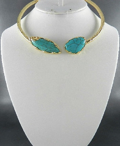 "17.50"" gold turquoise stone open cuff choker necklace"