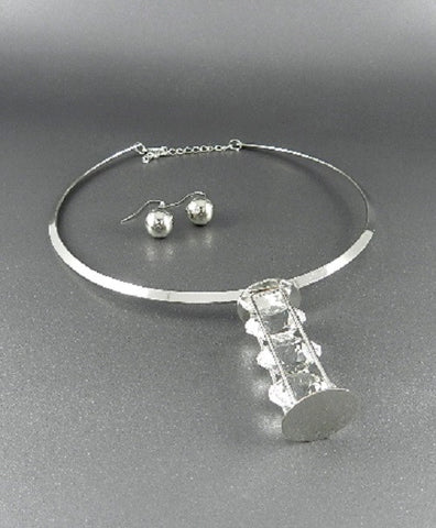 "10"" silver crystal collar choker necklace .50"" earrings"