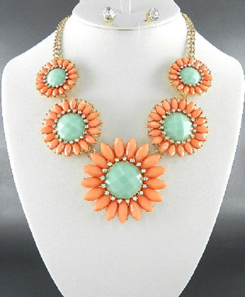 "14"" peach green sunflower crystal collar choker necklace .25"" earrings"