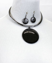 "16"" 2.25"" pendant necklace .75"" earrings collar choker statement"