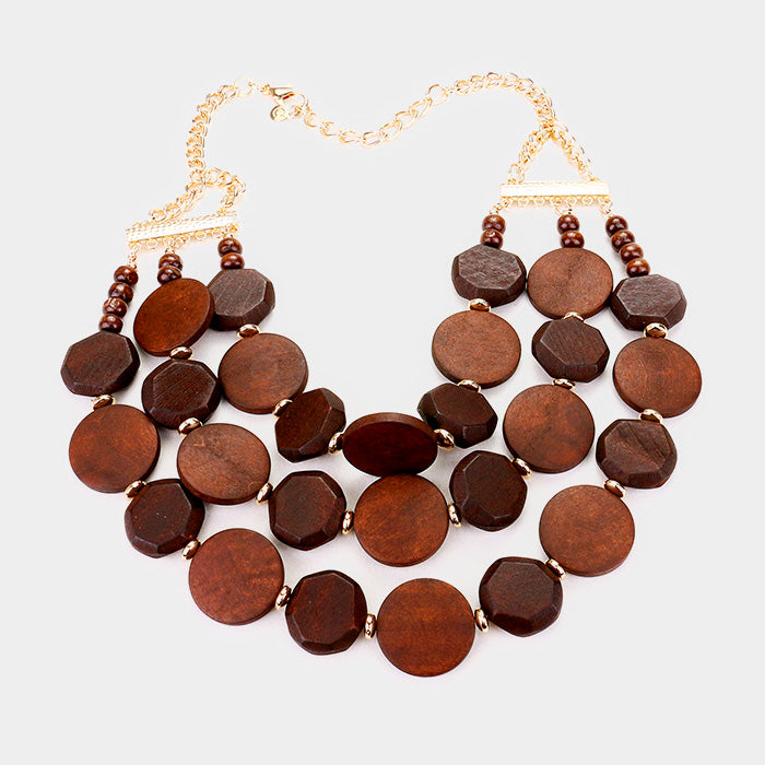 "18"" brown wood disc multi layered necklace 1.75"" earrings"