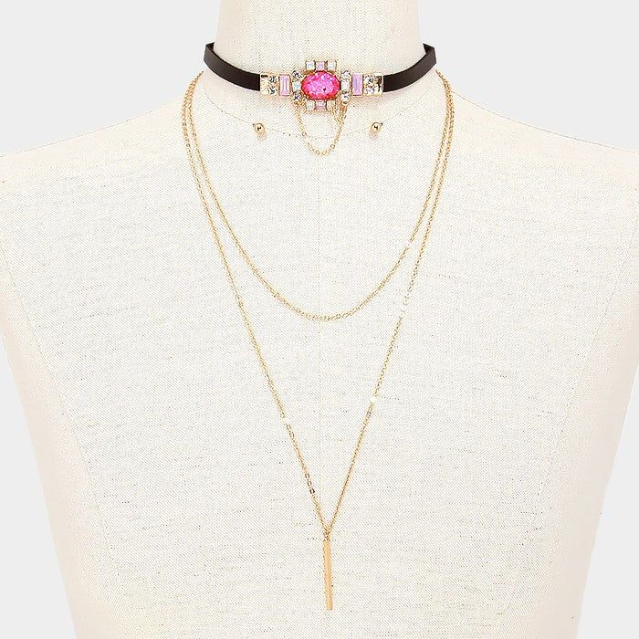 "2 piece crystal drop multi layered 14"" choker 20"" necklace .15"" earrings"