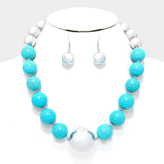 "19"" silver faux pearl turquoise bead collar necklace 1.50"" earrings"